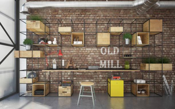 Industrial interior office stock photo
