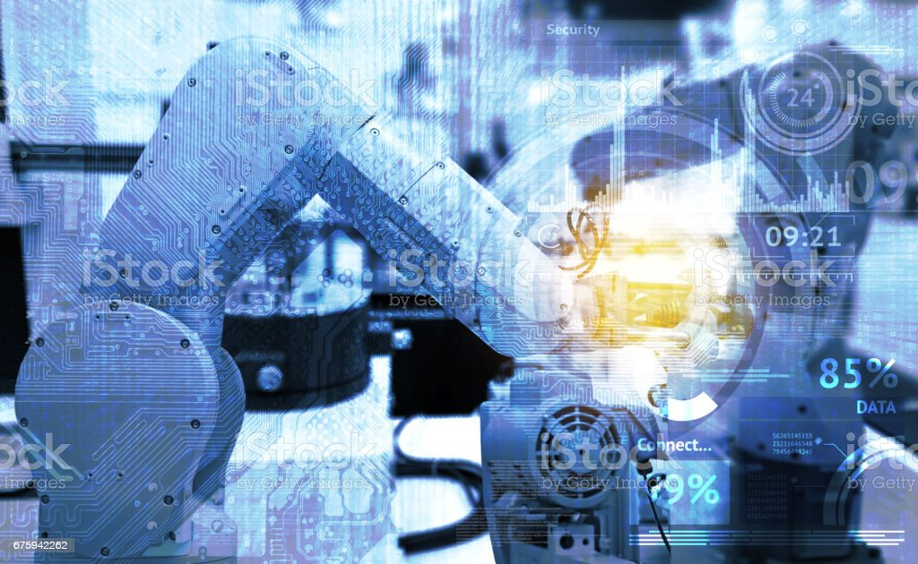 Industrielle Internet der Dinge und Industrie 4.0-Konzept. Abstrakter blauer Hintergrund Technologie Grafik und Automatisierung drahtlose Steuerung Roboter Maschine smart factory mit Fackel Lichteffekt. – Foto