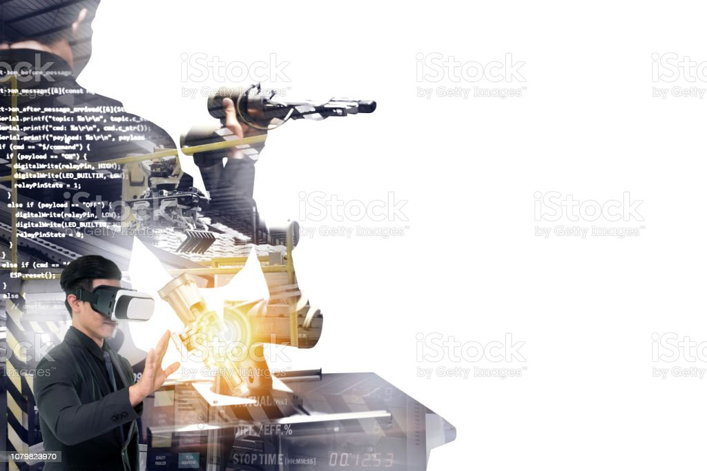 Industrial internet of things , disruption technology and industry 4.0 concept. Double exposure of automate wireless Collaborative robot arm for control and monitoring system in smart factory. stock photo