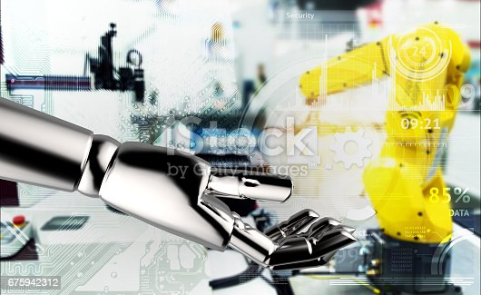 istock Industrial internet of things , industry 4.0 , artificial intelligence and deep learning concept. 3d rendering Robot hand holding gears with blue blur robotic electric circuit graphic background. 675942312