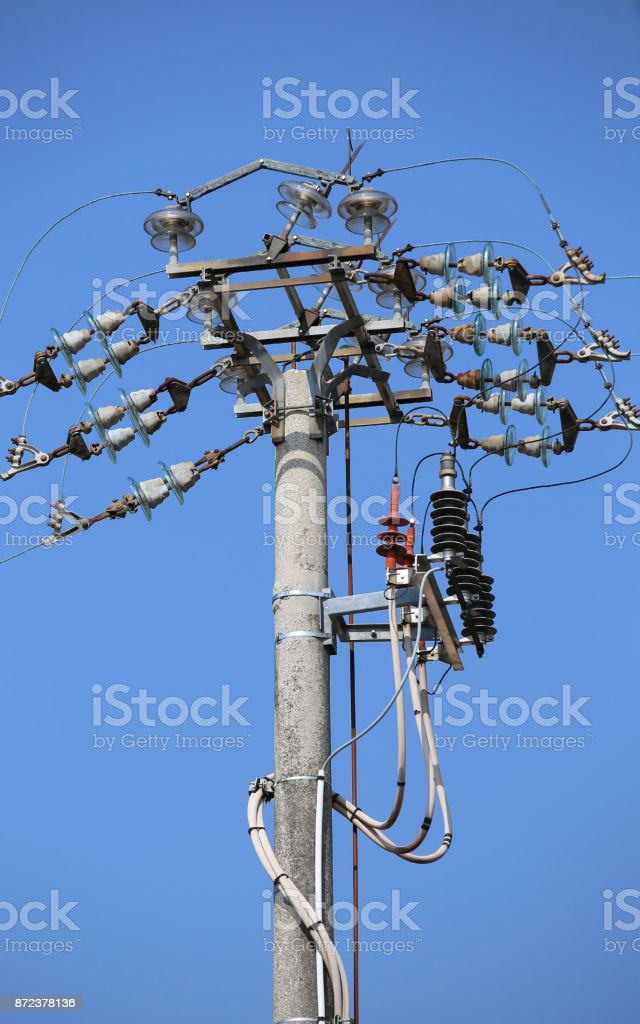 Industrial isolator and switches of a high voltage electric line stock photo