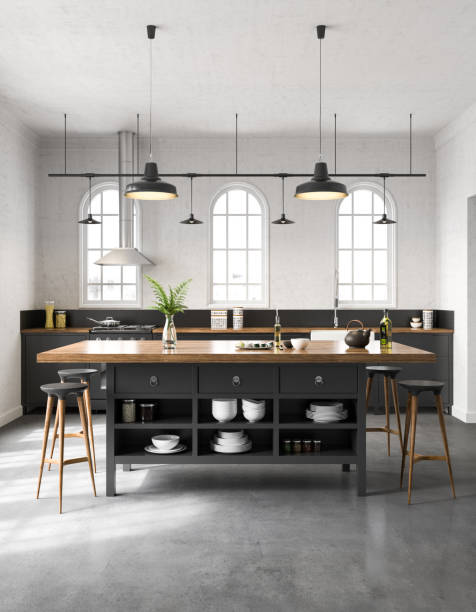 industrial kitchen interior - nelleg stock photos and pictures
