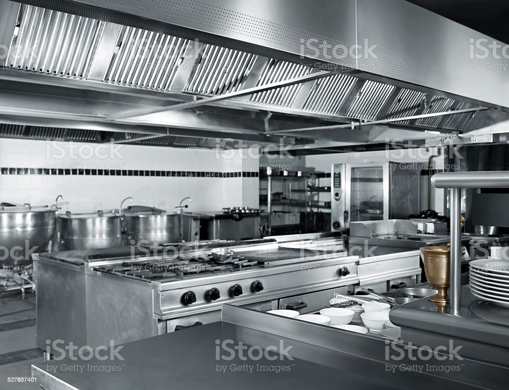 industrial kitchen stock photo