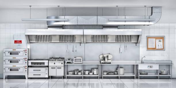 industrial kitchen. restaurant kitchen. 3d illustration - kitchen counter imagens e fotografias de stock