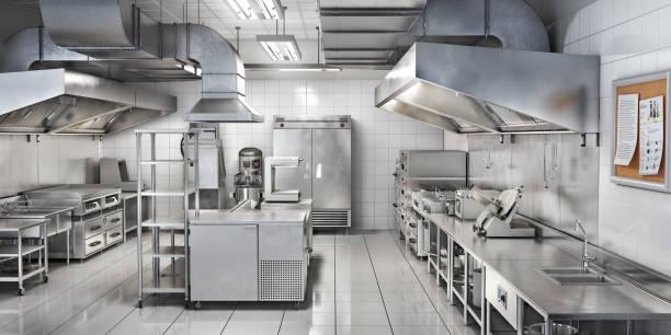 industriële keuken. de keuken van het restaurant. 3d illustratie - roestvrij staal stockfoto's en -beelden