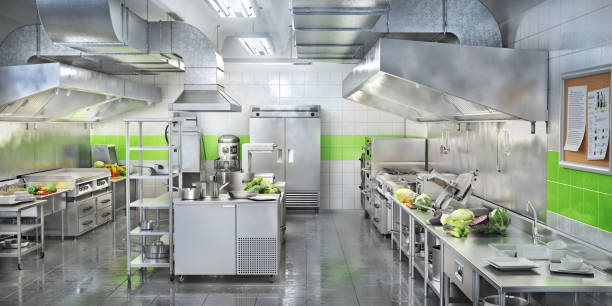 industrial kitchen. restaurant modern kitchen. 3d illustration - kitchen counter imagens e fotografias de stock