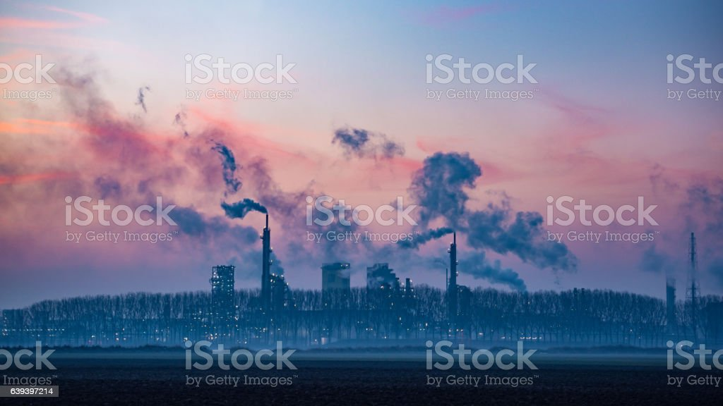 Industrial landscape at dusk stock photo
