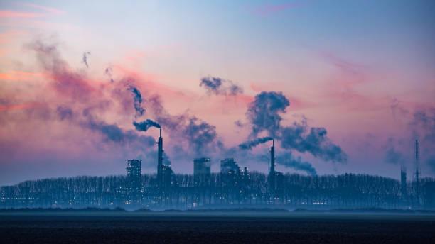 Industrial landscape at dusk stock photo