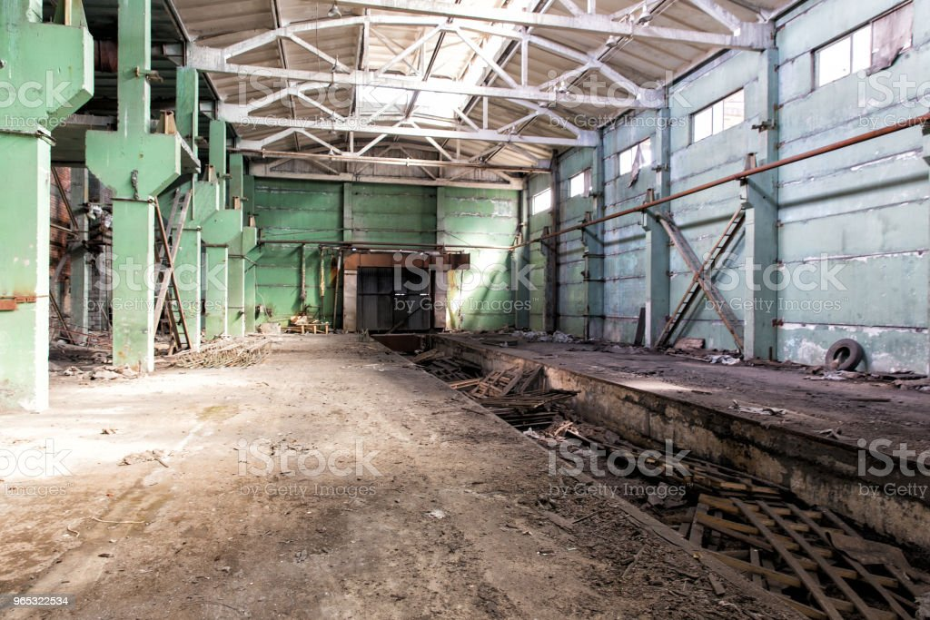 Industrial landscape. Destroyed building. The abandoned shop of the metallurgical plant royalty-free stock photo