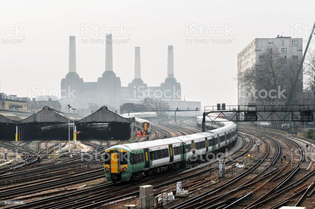 Industrial landscape with Battersea Power Station in London stock photo