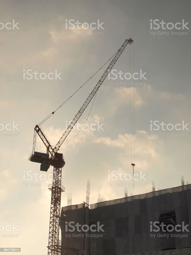 Industrial landscape with cranes royalty-free stock photo