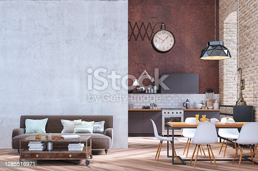 Industrial large modern kitchen with brown wooden kitchen cabinets on white tiled and high rusty wall background. An arched window on orange brick wall and a pendant light over a full dining table with white modern chairs and a retro giant clock on the wall. A living room with a brown sofa and retro table in front of concrete wall background with copy space on hardwood floor. 3d rendered image.