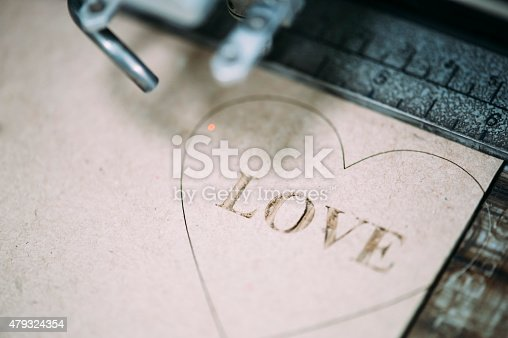 istock Industrial laser engraving on a paperboard 479324354