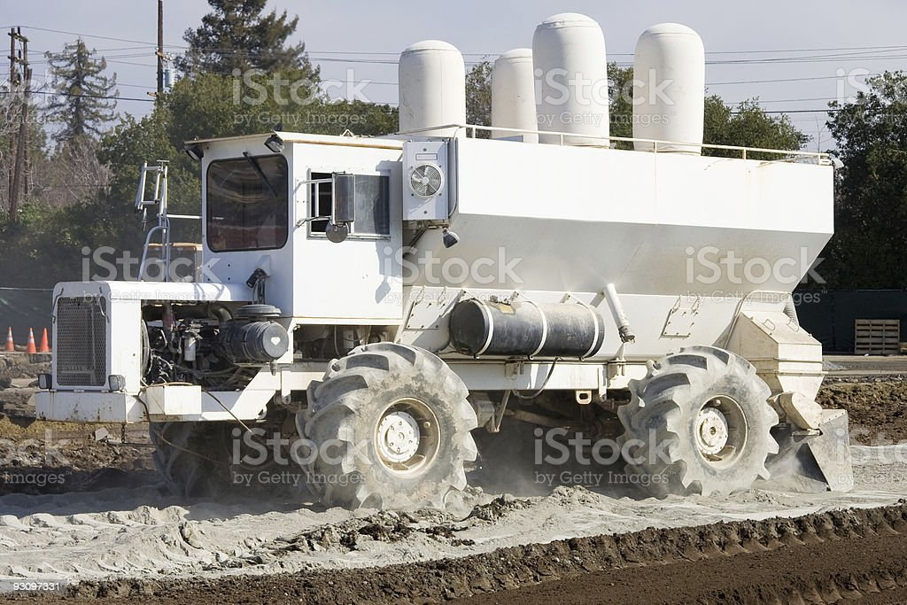 Industrial Lime Spreader Truck Stock Photo - Download Image