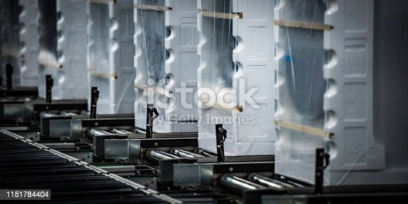 Close up of an industrial line of finished and packed appliances.