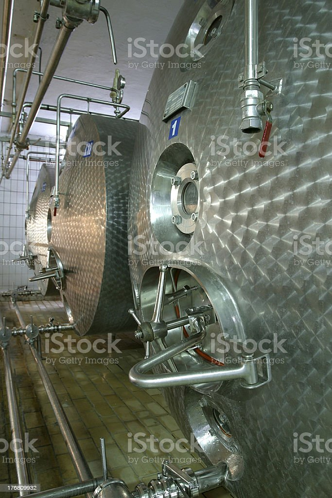 industrial liquid storage tanks and pipes royalty-free stock photo