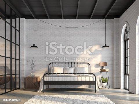 istock Industrial loft bedroom 3d render 1060548878