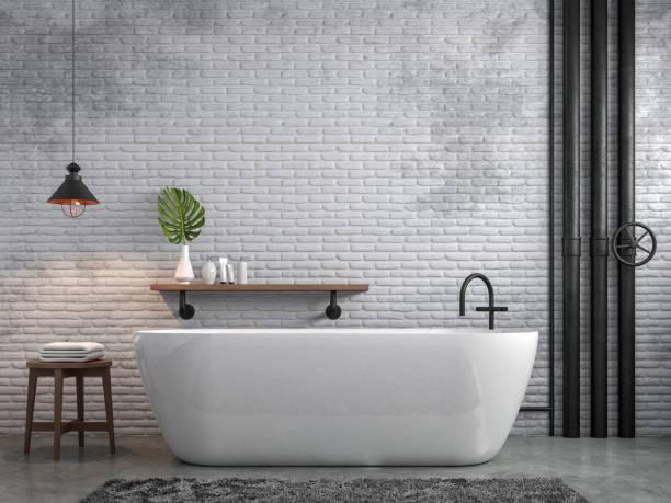 salle de bains 3d render de style loft industriel - architecture intérieure beton photos et images de collection