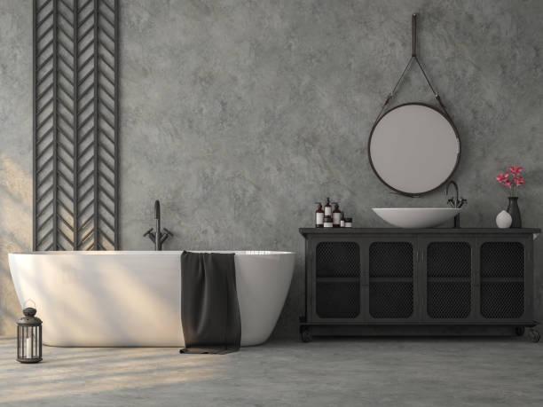 salle de bain industrielle de style loft avec rendu 3d en béton poli - architecture intérieure beton photos et images de collection