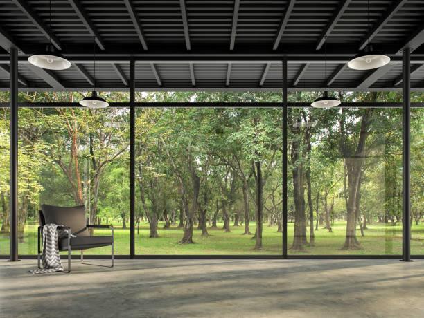 Industrial loft style empty room with garden view 3d render stock photo