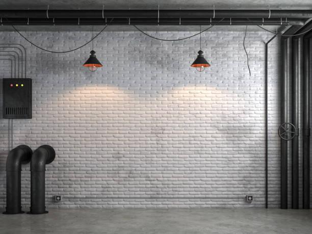 industriële loft stijl lege ruimte met witte bakstenen muur 3d render - loft stockfoto's en -beelden