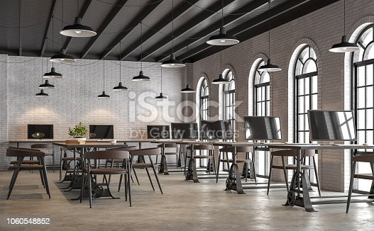 istock Industrial loft style office with arch shape window 3d render 1060548852