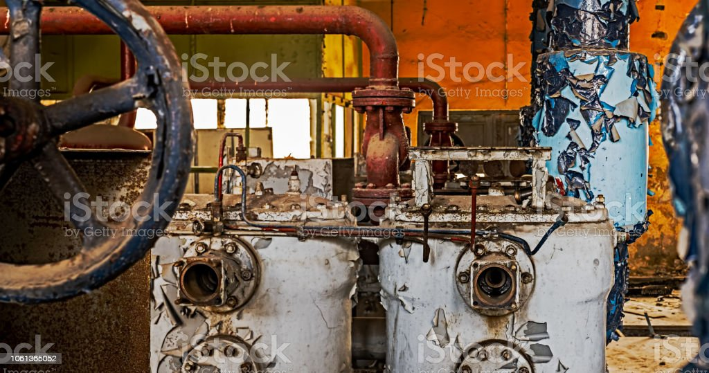 Industrial machinery abandoned stock photo