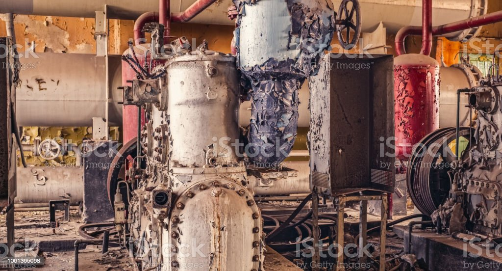 Industrial machinery abandoned-2 stock photo