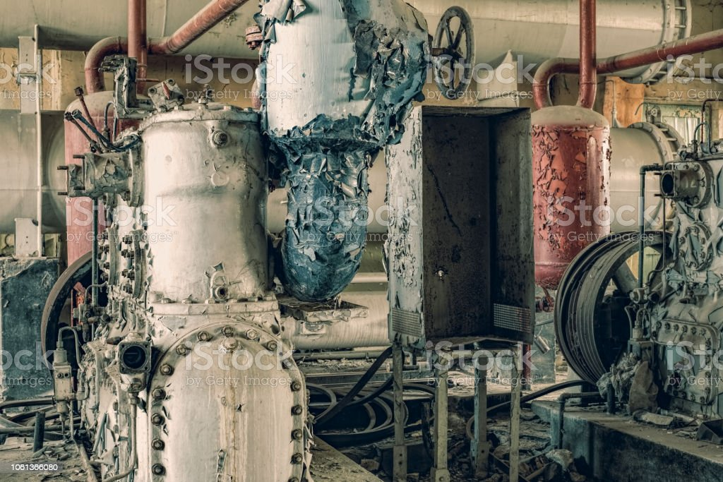 Industrial machinery abandoned-3 stock photo