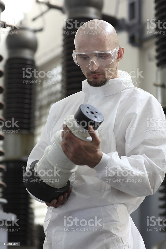 Industrial man holding object royalty-free stock photo