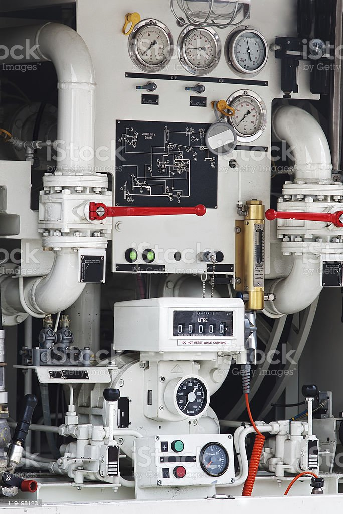 industrial mechanism with gauges stock photo