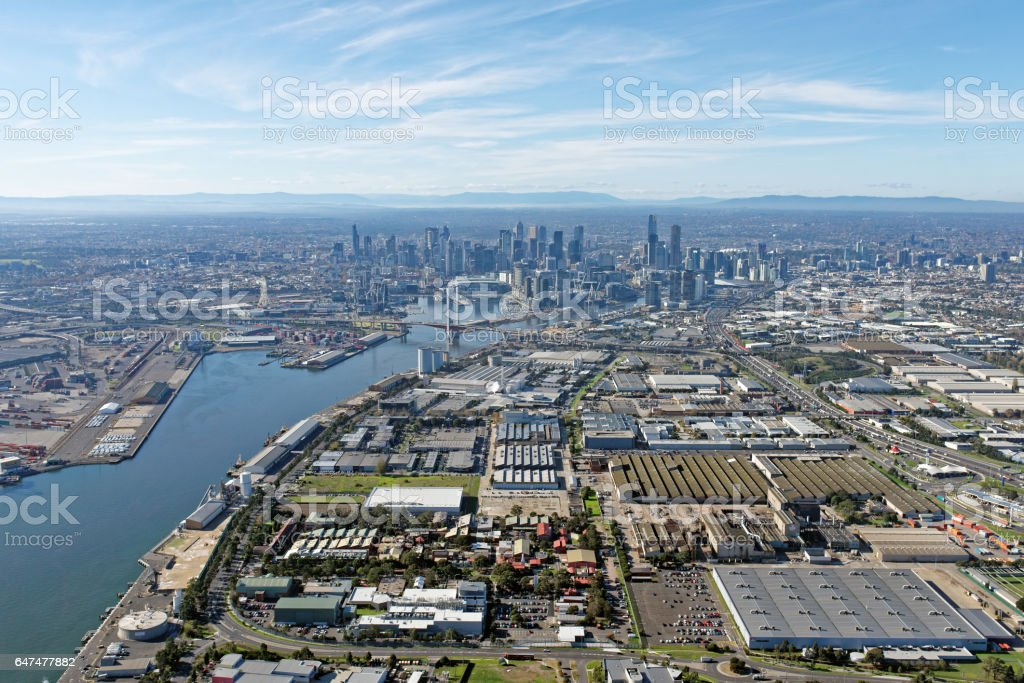 Industrial Melbourne: Docklands and CBD skyline viewed from above Port Melbourne, Victoria, Australia stock photo