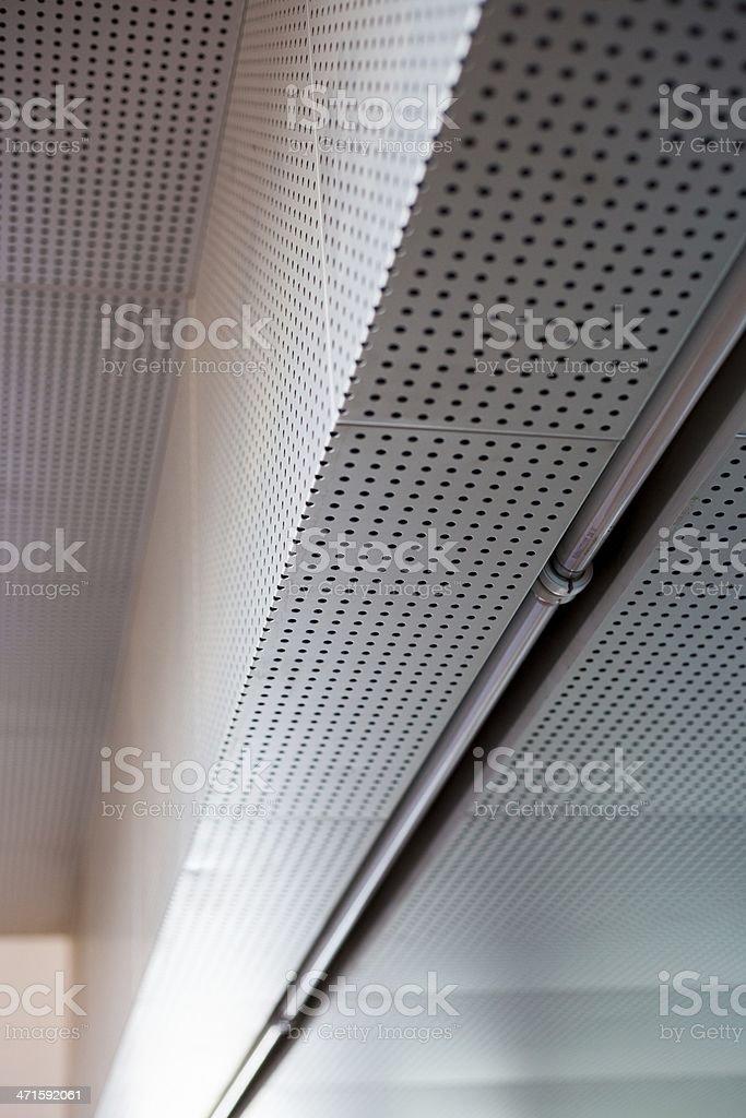 Industrial metal ceiling, urban interior stock photo