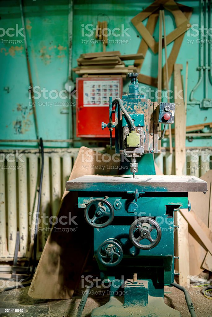industrial metal drilling tool in factory. Metal industrial mach stock photo