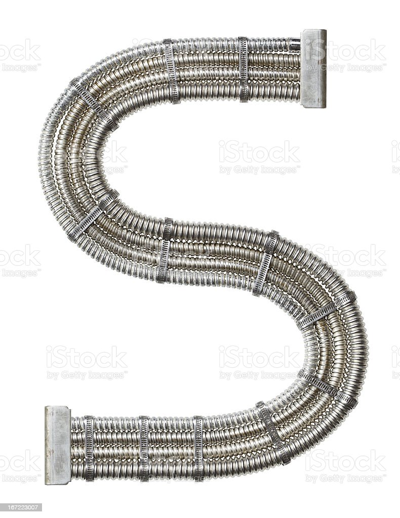 Industrial metal letter S on a white background stock photo