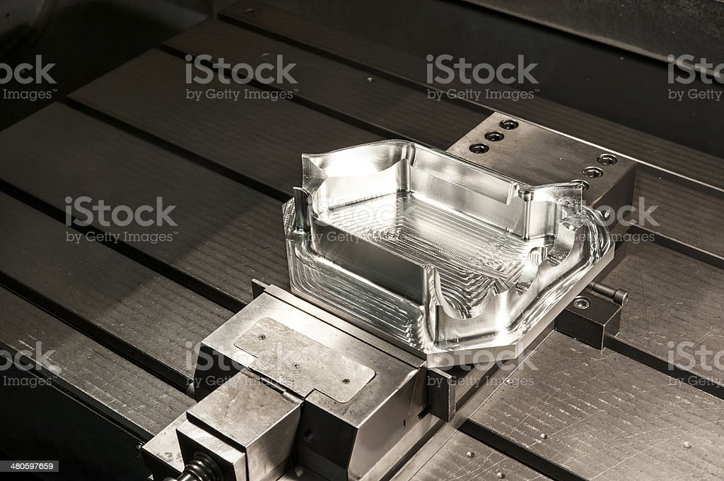Industrial metal mold blank. Metalworking. CNC technology. stock photo