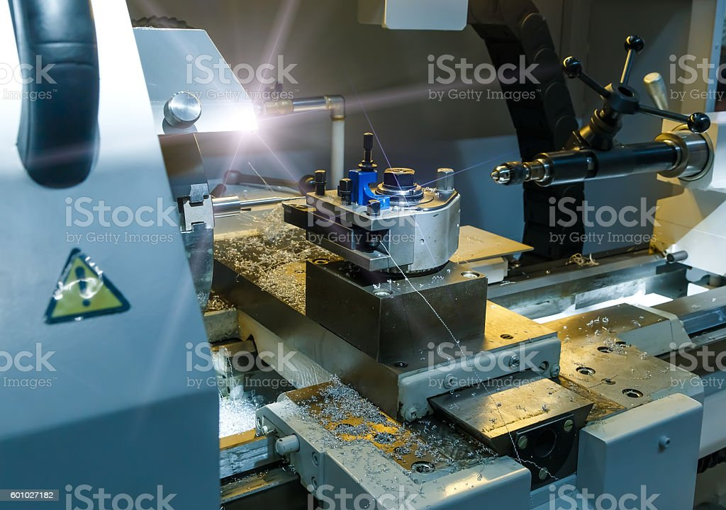Industrial metal mold blank milling. Metalworking. Lathe, and drilling industry. stock photo