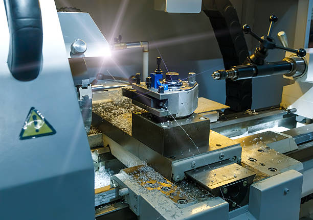 Industrial metal mold blank milling. Metalworking. Lathe, and drilling industry. - Photo
