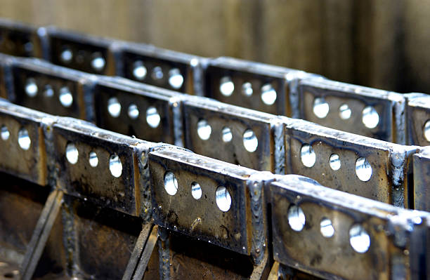 Industrial metal products in manufacturing plant stock photo