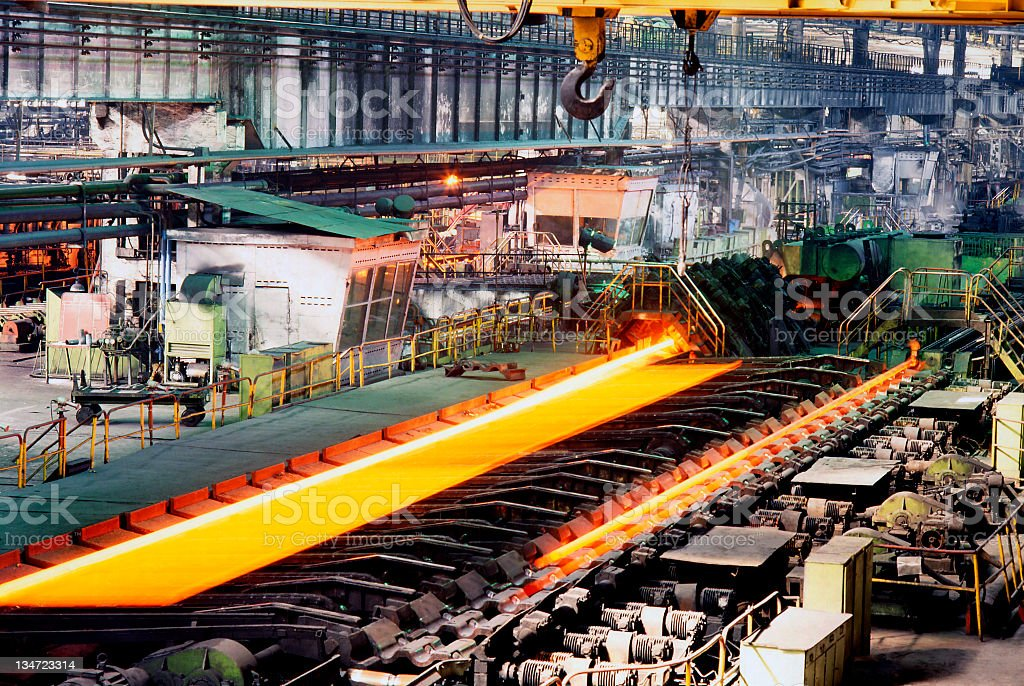 Industrial metallurgy factory currently running operations stock photo