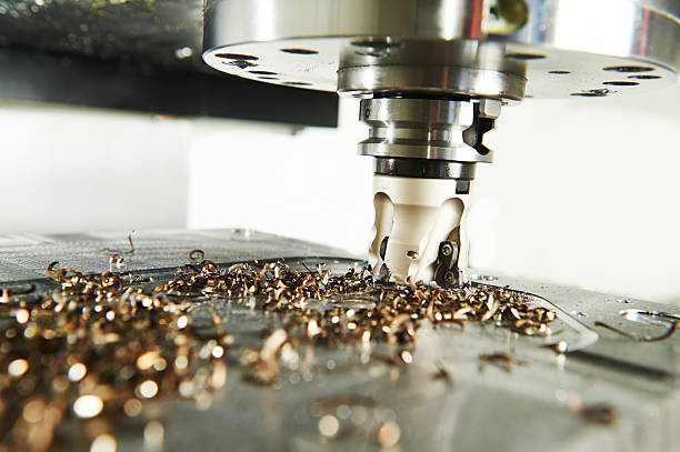 industrial metalworking cutting process by milling cutter industrial metalworking machining cutting process of blank detail by milling cutter with hardmetal carbide insert at modern cnc machine. metal worker stock pictures, royalty-free photos & images