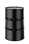 A black 55 gallon drum used for storing industrial products such as oil isolated on a white background.