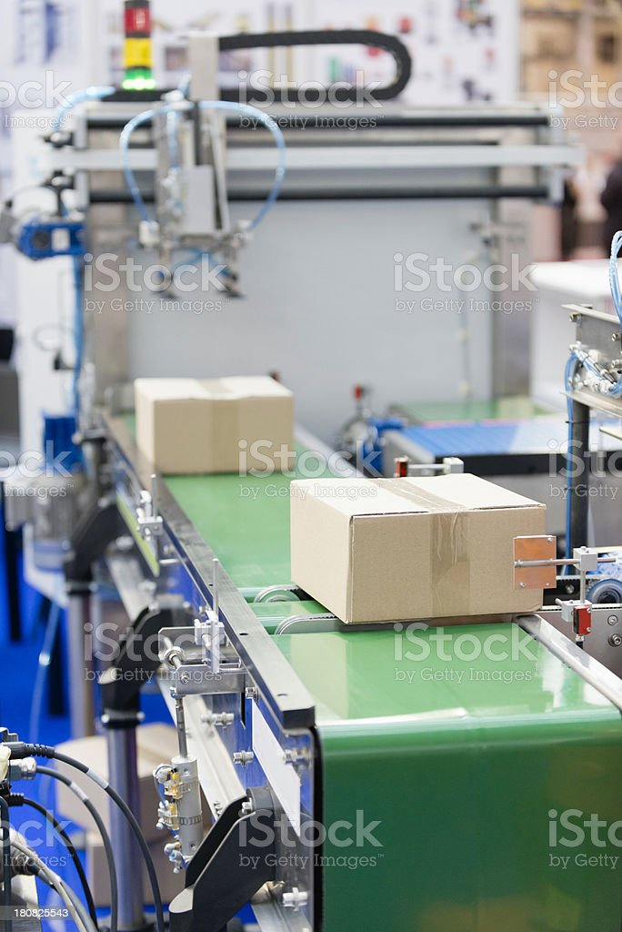 Industrial packaging machine stock photo