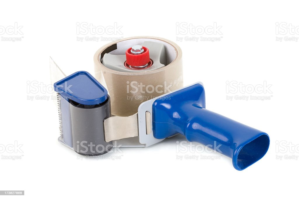 Industrial packing tape dispenser stock photo