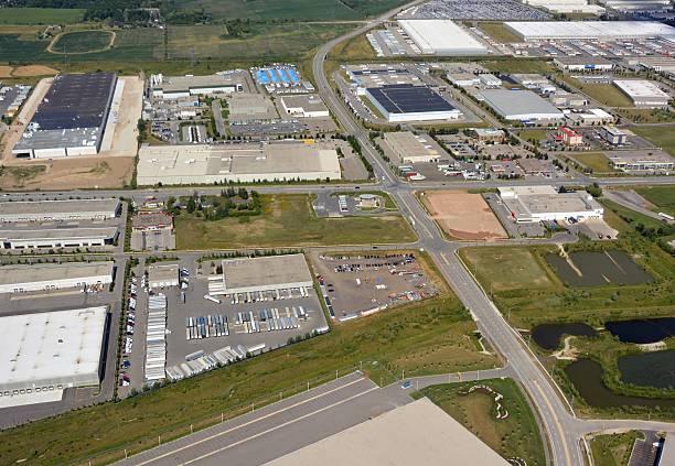 industrial park milton, aerial - industriegebied stockfoto's en -beelden