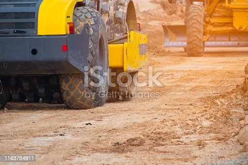 Soil compaction work in road construction, Machinery in road construction