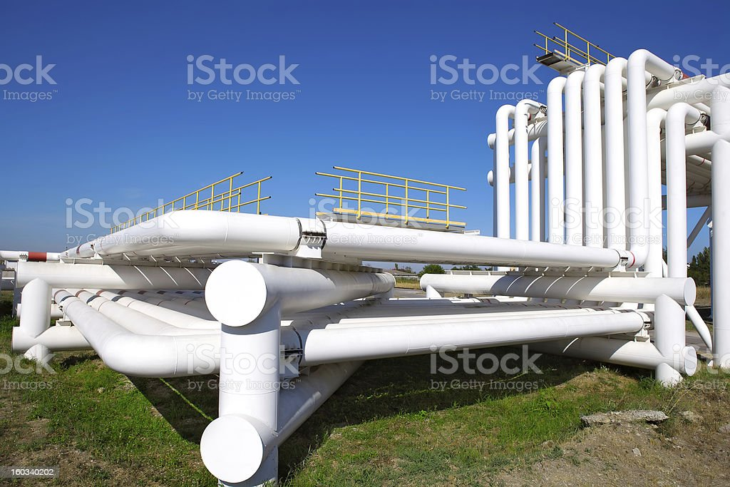 Industrial pipe with gas, oil and water royalty-free stock photo