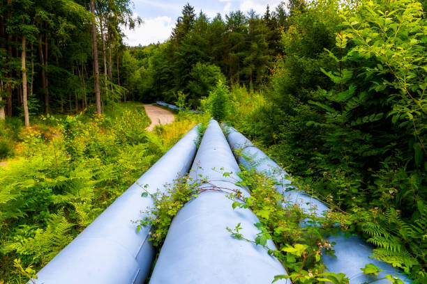 Industrial pipeline with gas and oil - foto stock