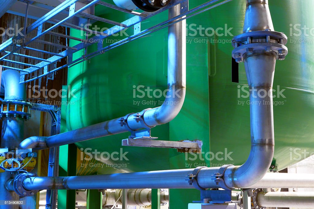 Industrial Pipeline.interior Of Chemical Factory stock photo