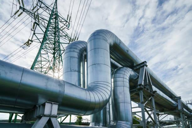 Industrial pipelines - foto stock